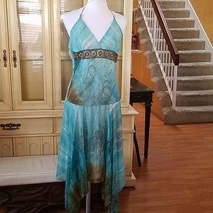 Georgiou Studio Turqouis Halter Dress
